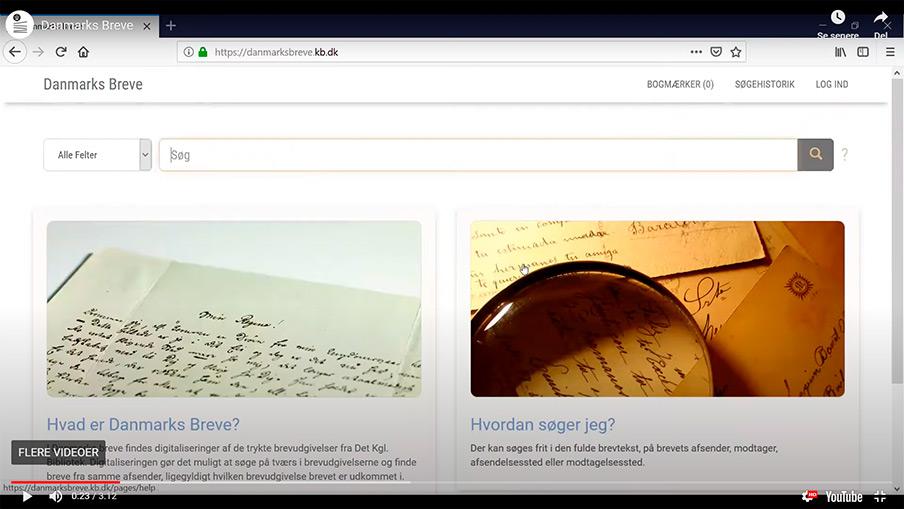 Link til kursus i 'Danmarks breve'