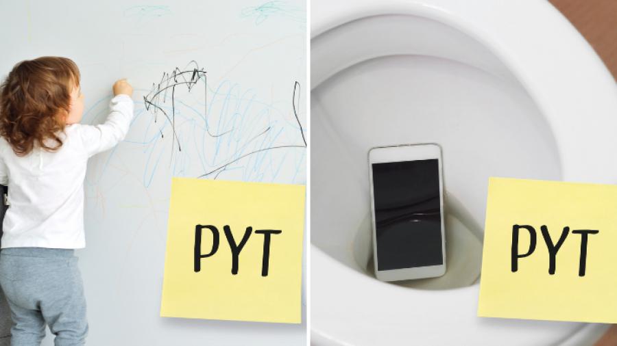 PYT med at barnet tegnede på væggen og at du tabte telefonen i toilettet